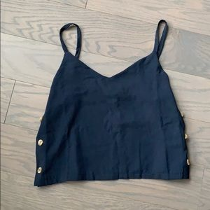 NWT Made in Italy Cropped Tank Top with Buttons